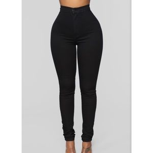 High Waist Denim Skinnies - Black